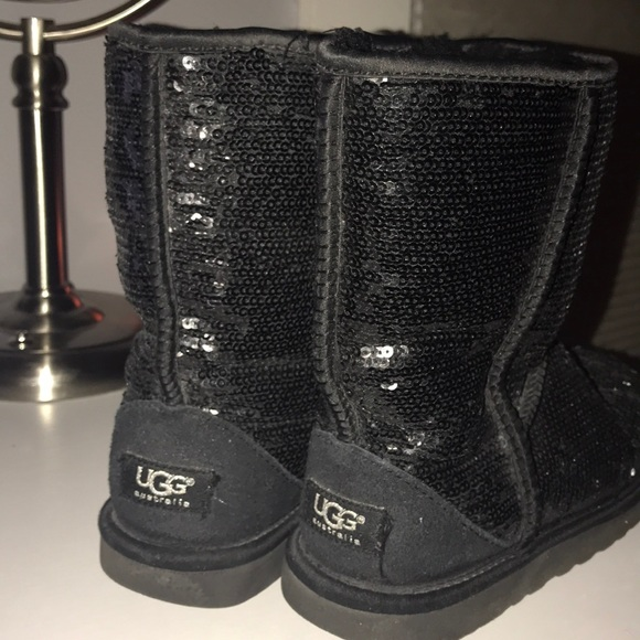 Black Sequin UGGS size 7